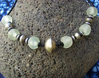 African necklace - large glass beads - nec17