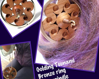 "Golding bronze Ring Drop  Spindle ""Tsunami  ""  hand carved cherry drop spindle : saorisantacruz"