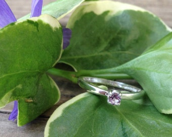 Alexandrite 3mm Silver Ring, Engagement Ring, Wedding Ring, Promise Ring, Colored Engagement Ring, Alternative Engagement Ring