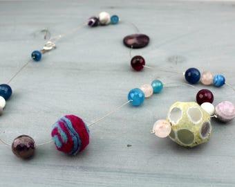Hard stones Necklace, Nickel free- Valentine's day present
