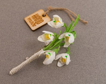 Snowdrops brooch ‒ Brooch ‒ Hair clips ‒ Hair twig ‒ Hair pins ‒ Polymer clay