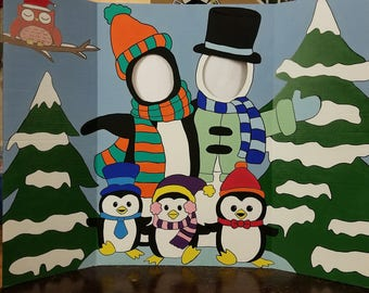 Winter Wonderland Hand Drawn and Painted Photo Op Display / Cutout Board!