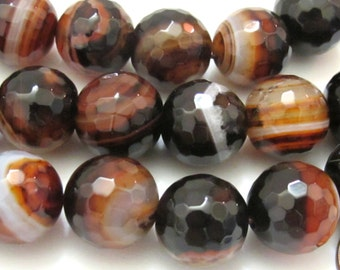 6 BEADS - Large faceted banded agate beads 16 mm - GM318
