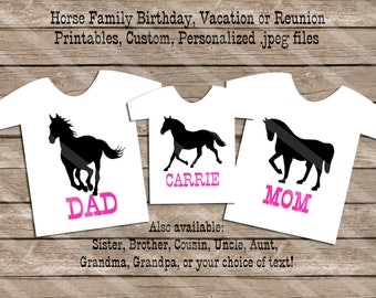 Horse Theme Birthday Family Set Digital Printables for iron-ons, heat transfer, Scrapbooking, Cards, Tags, Invitations, DIY YOU PRINT