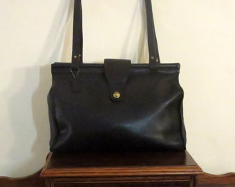 Etsy BDay SaleCoach Barclay Tote In Black Leather With Brass Hardware- Style No. 9896- Made In United States- VGC