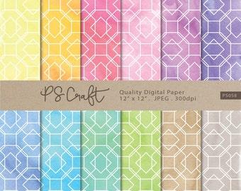 Watercolor Geometric Digital Papers, Watercolor Paper Pack, Watercolor background , Watercolor Papers, Geometric Patterns