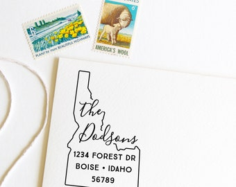 Idaho return address stamp, state, self inking stamp or rubber stamp wood handle