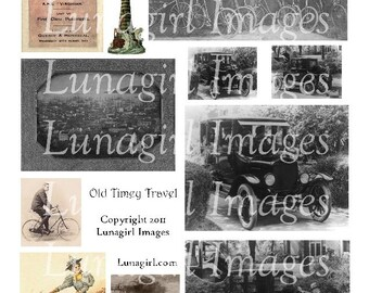 ANTIQUE CARS BICYCLES digital collage sheet, images antique automobiles travel, Vintage Photos, old steampunk ephemera pictures. Download