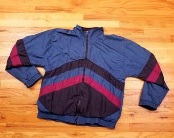 Vintage 90s Color Block Windbreaker Tracksuit Jacket Size Large
