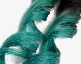 Clip in Bright Teal Turquoise Jade Ombre Human Hair Extensions Dark Root Hairstyles