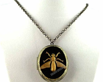 Pill Box Necklace Oxidized Yellow Jacket Bee Inlaid in Hand Painted Glossy Black Enamel Insect Burnished Gold Locket Personalized Options