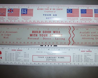 Advertising Rulers - Set of 3 Salesmans samples - Historic Flags of US - Accounting Example - 1962-63 Canfield HighSchool Basketball Scedule