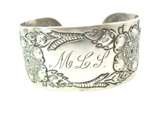 Antique Victorian Sterling Silver Repousse Engraved Cuff Bracelet. Monogrammed MLP or MLS