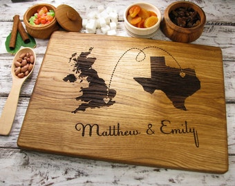 Personalized Map Engraved Board, Personalized Map Cutting Board States Countries Gift for Couple Wedding Gift Personalized Wedding Gift