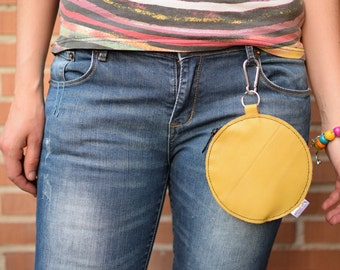Waist bag,Belt bag,leather fanny pack,yellow purse,belt purse,circle purse,yellow leather bag,leather purse bag,hook coin purse,hook purse