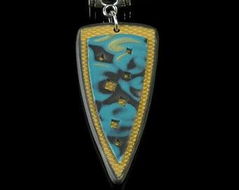 Turquoise Tribal Necklace, Unique Mokume Gane Pendant Jewelry, Artisan Jewelry Gift for Women, Tribal Jewelry, Unique Birthday Gift for Wife