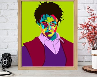 DANIEL RADCLIFFE Print - Colorful Poster Drawing Art - Harry Potter