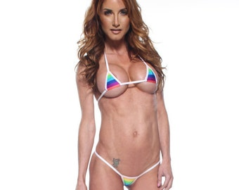 Rainbow Stripe Euro Style Micro G-String Bikini 2pc Mini Triangle Top Extreme Thong Swimwear Exotic Dancewear Stripper w/ White String