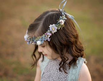 Children hair wreath Children wreath in violet-gray combination Hair wreath for flowergirl Flower hair wreath Hair accessories