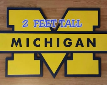 MICHIGAN WOLVERINES.....2 feet tall and 3 1/2 feet wide