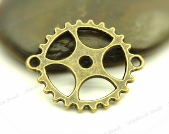6 Steampunk Style Gear Connectors Antique Bronze Tone (Double Sided) 24x28mm - BF30