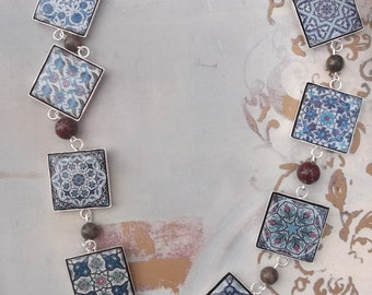 Wooden mexican tile style decoupage necklace