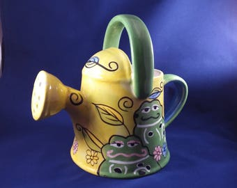 """Watering Can Hand Painted Green Frog on Yellow  Ceramic ADORABLE 8"""" H x 8"""" W"""