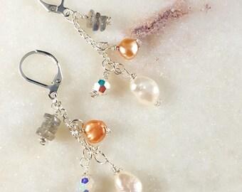 Delicate Gemstone, Labradorite, Pearl, Swarovski Crystal earrings