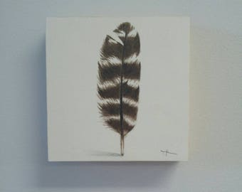Original Turkey Feather Watercolor painting, modern, home decor, boho decor, modern design, interior design, natural decor