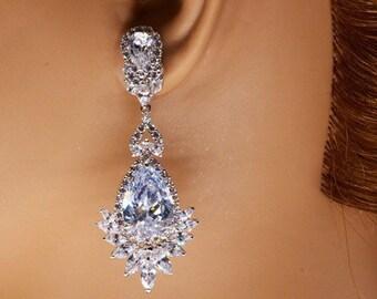 Stunning Elegant Earrings, Teardrop Earrings, Wedding Jewelry Earrings, Crystal Wedding Earrings, Bridal Earrings, Bridesmaid Earrings