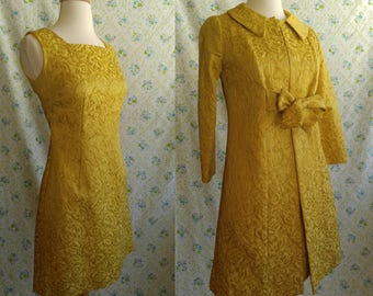 1950s gold brocade hand made wiggle dress with matching jacket
