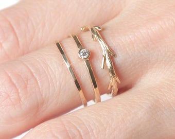 14k Diamond Twig Ring Set  | 14k Gold Ring Set | Conflict Free Diamond
