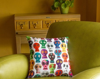 Sugar Skull Throw Pillow Cover - photorealistic embroidered sugar skulls - custom backgrounds - 2-sided printing