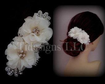 Sale/Ivory Flower Hair Comb , Rhinestone Bridal Hair Accessories ,Wedding Hair Accessories, Bridal Hair Clip, Vintage Inspired