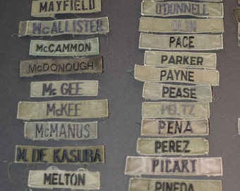US Army Name Tape Patches - Vintage Uniform Take-Offs - Letters M-R - Vietnam Era - Choose Your Preference -  e1