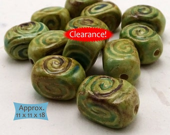 Earth Tone Ceramic Cube Beads Handmade in Cambodia—3 Pcs--40% OFF | 33-SPB-CJ-3