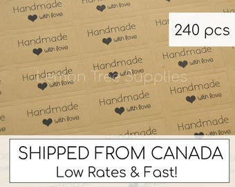 Handmade stickers, handmade with love stickers, kraft handmade stickers, kraft stickers, handmade with love - pack of 240