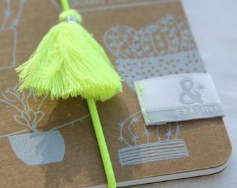 Book silkscreen Cactus Collection rubber band and pompon yellow or green Fluo - handmade by Silkscreen print