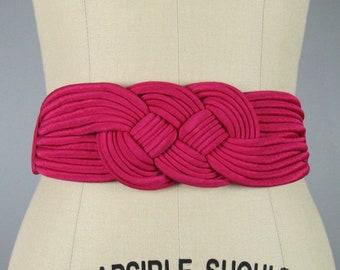 Vintage 1980s Hot Pink Elastic Knot Belt 80s Funky Belt NOS Size M/L
