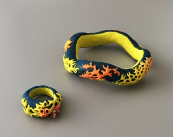 Funny polymer clay bangle and ring. Beach style bangle and ring.  Colorful set .