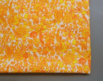 Floral white orange soviet fabric 4.37 yards colorful bright gypsy bohemian summer drees sewing dressmaking craft fabtic retro soviet cotton