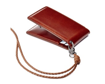 Genuine Leather ID Card Badge Holder Bifold Card Case Wallet with Lanyard Neck Strap