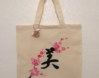 Canvas Tote, Hand Painted, Beauty, Plum Blossoms, Chinese Characters, Kanji, Mother's Day Gift