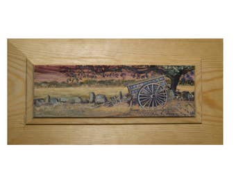 Acrylic paint on wood. Original art. Landscape on recycled wood...