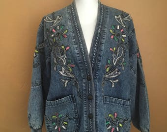 1990s Acid Washed Oversized Korean Jean Jacket (M) •Embroidered Denim Fashion Jacket