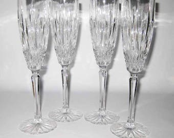 Crystal Champagne Glasses (4) Cross Hatch With Long Deep Vertical Cuts Stunning!