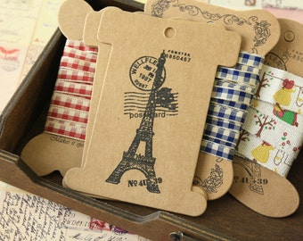 5pc set vintage EIFFEL Kraft bobbin ribbon thread yarn card spool