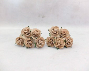 """10 25mm light brown mulberry roses - 1"""" paper rose with wire stems"""