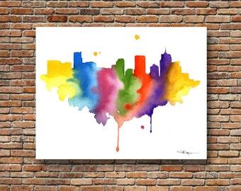 Denver Skyline - Abstract Watercolor - Colorado Art Print - Wall Decor