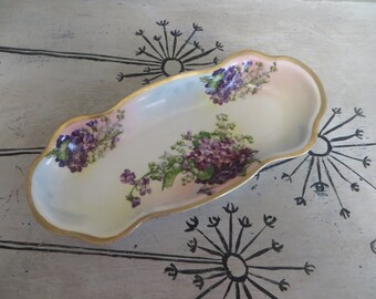 Prussia Celery Dish Royal Rudolstadt Gold Trimmed Flower Oval Dish Appetizer Plate Small Serving Platter Purple and Green Purple Violets